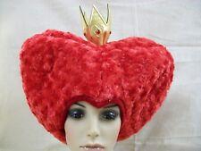 Disney Red Queen of Hearts Hat Wig with Mini Crown Alice in Wonderland Iracebeth