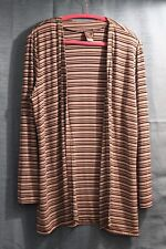 Joan Fagan Long Cardigan Size Large - striped black, taupe and gray
