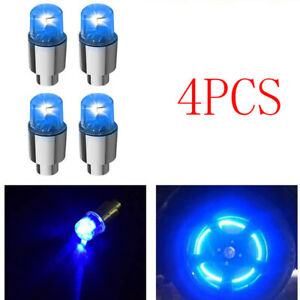 4X Blue Car Auto Wheel Tire Tyre Air Valve Stem LED Light Cap Cover Accessories