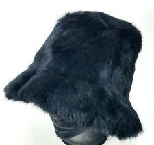 Gorgeous Black Real Genuine Rabbit Fur Bucket Hat Crowncap Cap Silky Streetwear