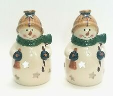 2 Ceramic Christmas Snowman Tea Light or Votive Candle Holders Holiday Decor