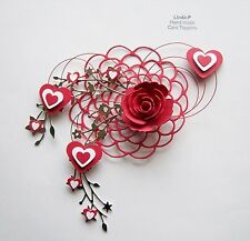 VALENTINES DAY HEARTS, ROSE & WIRE DESIGN CARD CRAFT TOPPER  VAL 02/18 RED