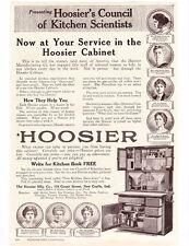 HOOSIER 1917 Kitchen CABINET Oak Cupboard w Flour Bins Vtg REPRINT 8x11 AD