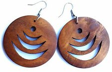 Boho Hippy Gypsy 70s Style Large Saddle Brown Disc Patterned Fashion Earrings