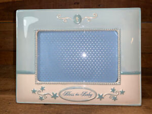 """""""Bless this Baby"""" Boy Ceramic 9"""" by 7"""" Picture Frame Fits 4"""" by 6"""" Picture"""