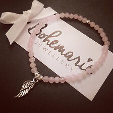 Rose quartz mini angel wing bracelet gemstone protection bijoux jewellery boho