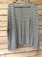 Aeropostale Size Small Gray White Striped Open-Front Cardigan Drape Rayon