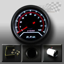 REV COUNTER TACHO RPM GAUGE WHITE LED SMOKED DIAL FACE WITH BLACK RIM 52mm 2""