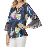 BNWT Womens Sz XL 16 Rockmans Multicoloured 3/4 Flare Sleeve Top RRP $59.99