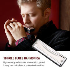 KONGSHENG Pro Blues Harmonica And Case Key C Diatonic Mouth Organ 10 Hole