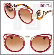 PRADA MINIMAL BAROQUE Swirl PR07TS Red Brown Havana Gold Sunglasses 07T Wanderer