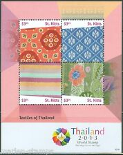 ST. KITTS 2014 TEXTILES OF THAILAND  COMEMMORATING WORLD EXPO 2013 SHT  MINT NH