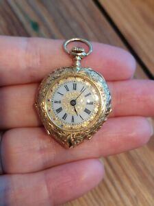 14ct Gold Edwardian Heart Shaped Ladies Swiss Open Face Fob Watch, fully working