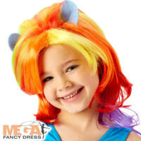 Rainbow Dash Wig Girls Fancy Dress My Little Pony Kids Childs Costume Accessory