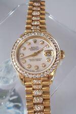 RARE Vintage Rolex Ladies Watch DateJust 6917 President 18K 5CT TW Diamond MOP