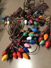 Vintage Christmas Lights -4 Strands w/ Red & Green Wire * C7 Bulbs