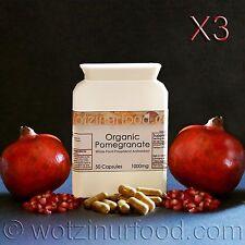 Pomegranate Capsules Organic Whole Food Juice Seeds Peel (no Extract) 1000mg X3