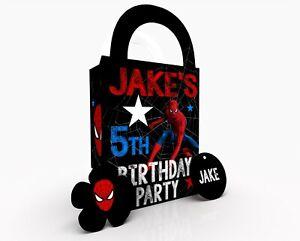 Personalised Spiderman Superhero Children Party Bag Gift Favour Box Treat Bag