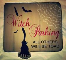 Primitive Halloween Sign Witch Parking All Others Will Be Toad Broom Web Bats