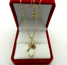 "Vintage 14k Yellow Gold Flower Design OPAL Pendant Chain Necklace 18.5"" long"