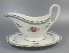 SPODE TRAPNELL SPRAYS GRAVY / SAUCE BOAT AND STAND (PERFECT)