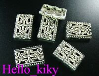 50 Pcs Tibetan silver 3 hole ornate cover spacers A381