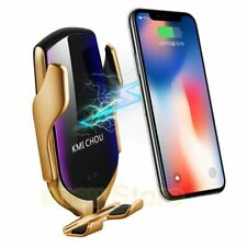 Automatic Phone Clamping Wireless Car Fast Charger Holder iPhone Samsung - Gold