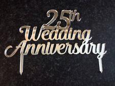 25th Silver Wedding Anniversary Glitter Card or Acrylic Cake Topper 15cm 19cm