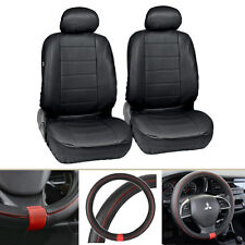 Black PU Leather Front Car Seat Covers Steering Wheel Cover for Auto