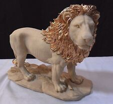 African Male Lion Statue with a Gold Mane Leo King Icon Noble Royal Garden Decor