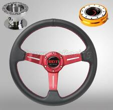 Red Steering Wheel Kit w/Quick Release Gold For Hyundai Accent Genesis Tiburon