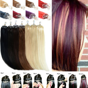50S/100S Remy Loop Micro Ring Silicone Bead Human Hair Extensions 7A 16-26Inch