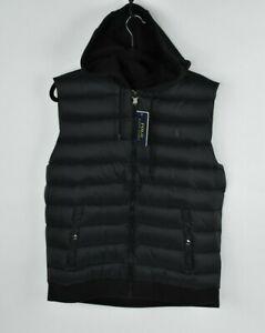 NEW Polo Ralph Lauren Men's Paneled Down Hooded Puffer Vest Jacket Black $145