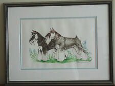 Two Schnautzer Dogs Limited Ed Colored Art Print 1/10 Signed Stephanie Jamison
