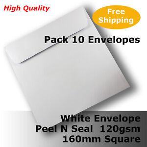 10 x Envelopes HQ White 160mm Square Wallet Shape 120gsm Peel N Seal #E50CP #C1