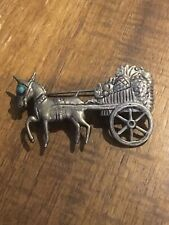 Vintage Mexican Sterling Silver Burro Donkey Pulling Fruit Cart Pin Brooch