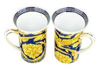 "Majestic Porcelain ""Gold Carnation"" Coffee Mugs, Porcelain Tea Cups, Set of 2"