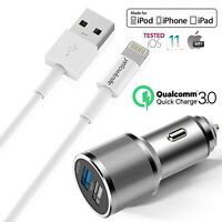 OEM Apple Lightning USB Cable + Car Charger for iPhone 7/Plus/6s/Plus/5/SE/iPads