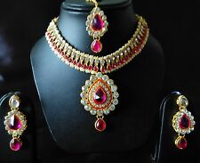 Indian Traditional antique Kundan Pink Set Necklace and Earrings Gold Plated
