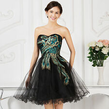 Women Peacock Bridesmaid Prom Dress Cocktail Evening Masquerade Ball Gown Sale
