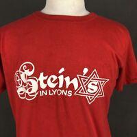 Steins In Lyons Vintage 90s T-Shirt Single Stitch Chicago Jewish Deli Large LP