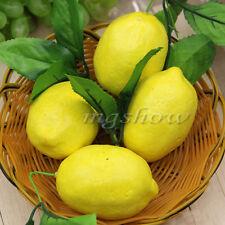 4x Lemon Artificial Fruit Fake Theater Prop Staging Home Decor Faux Lemons