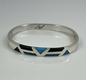 """Taxco Mexico 925 Sterling Silver Turquoise Black Onyx Bangle Bracelet 6.75"""""""