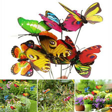 100Pcs Butterfly Stakes Outdoor Yard Planter Flower Bed Artificial Garden Decor