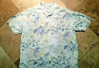 Tommy Bahama Button Front Short Sleeve Hawaiian Shirt Silk Floral Ivory XL Men