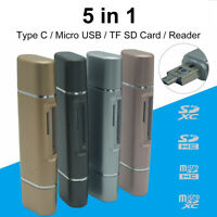 AU_ 5-in-1 Type C Micro USB TF SD Card Reader Phone OTG Adapter for MacBook Wind