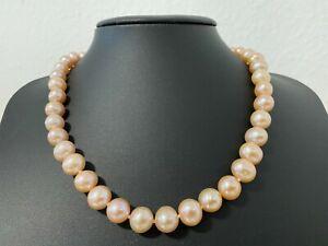 Süßwasserzuchtperlen 10-11mm Perlen lachs Collier Kette Länge 44 cm