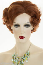 Bright Red Short Human Hair  Wavy Curly Wigs