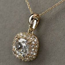 18K ROSE GOLD FILLED MADE WITH SWAROVSKI CRYSTAL PENDANT NECKLACE 2CT CLASSIC