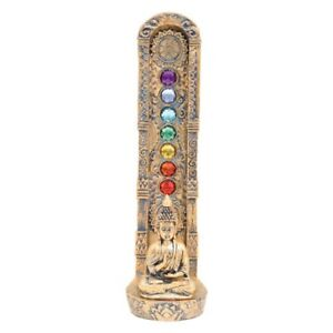 INCENSE BURNERS - Buddha Tower W / Chakra stones 9.5 IN  - BUDT